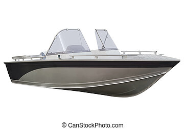 Motor boat on a white background