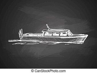 motor boat on blackboard