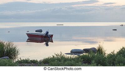 Motor Boat on Calm Sea