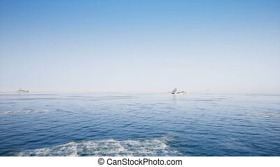 Motor boat on clear sea