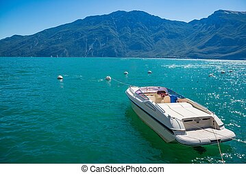 Motor boat on Lake Garda in Limone sul Garda, Lombardy,...