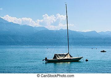 Motor boat on Lake Geneva in Lausanne
