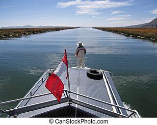 Motor boat on lake Titica