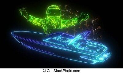Motor boat race with pilot digital neon video - Motor boat ...