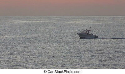 Motor boat sailing on the sea