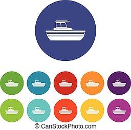 Motor boat set icons