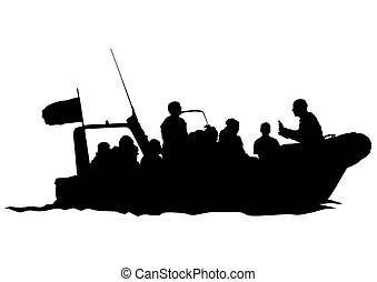 Motor boat - Silhouette of retro ship on white background