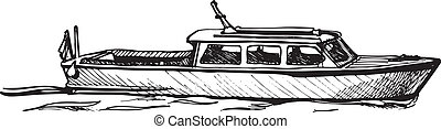 motor boat. - Vector drawing of boat stylized as engraving.