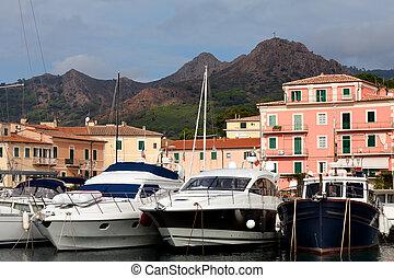 Motor Boats At Porto Azzurro, Elba Island