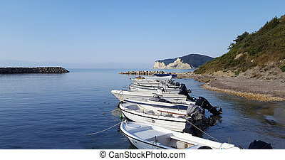 Motor boats in the sea on beautiful seascape