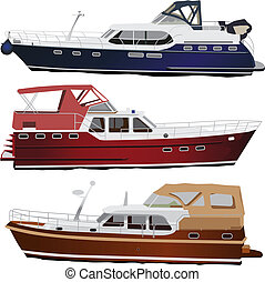 Motor boats - Middle size sea motor yachts. Vector ...