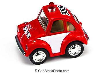 motor, brinquedo, fogo, sobre, isolado, fundo, branco vermelho