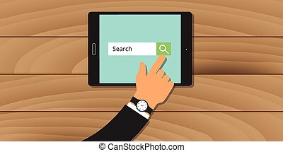motor, busca, analytics, tabuleta, mão, teia, procurar