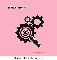motor, busca, vidro, concept., experiência., óptico, engrenagens, magnificar, ícone