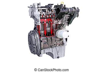 motor, car, branca, isolado