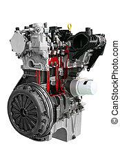 motor, car, branca, isolado, fundo