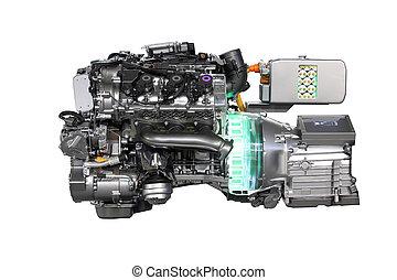 motor, car, híbrido, isolado, v6