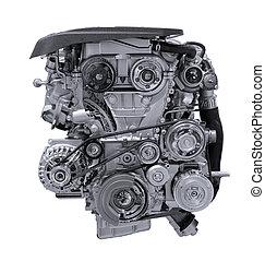 motor, car, modernos, isolado, experiência., branca