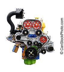 motor, car, mostrando, isolado, white., cronometrando, cinto