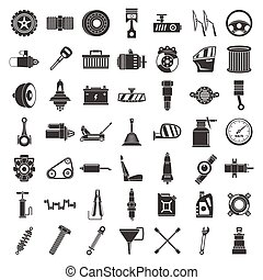 Motor car part icon set, simple style - Motor car part icon...