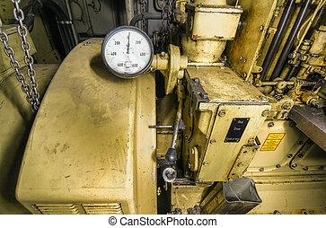 motor, carga, Asimiento, viejo, habitación,  Diesel, amarillo, tacómetro, barco,  control, barco, montado, barco,  panel