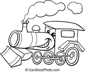 motor, caricatura, coloração, vapor, página
