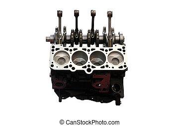 motor carro, fundo, pistões, isolado, branca