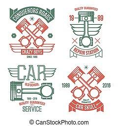 motor carro, pistão, emblemas