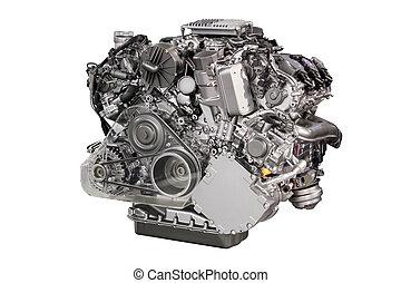motor carro, poderoso, isolado, branca
