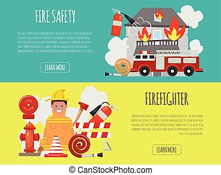 motor, casco, extinguisher., illustration., firefighting, ...