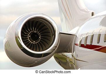 motor, chorro, -, avión particular, bombardier