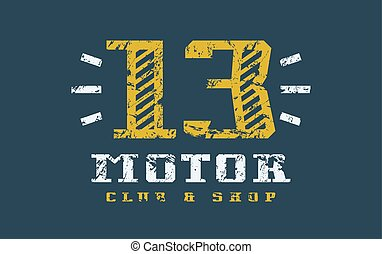 Motor club badge with shabby texture. Graphic design for t-...