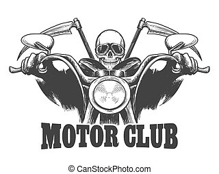 Motor Club Emblem Death on a motorcycle in  glasses  with scythes. Biker symbol drawn engraving style. Vector illustration