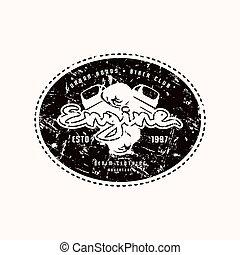 Motor club emblem for t-shirt. Black print on white ...