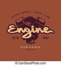 Motor club emblem for t-shirt. Color print on brown ...
