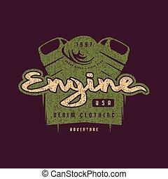 Motor club emblem for t-shirt. Color print on dark violet ...