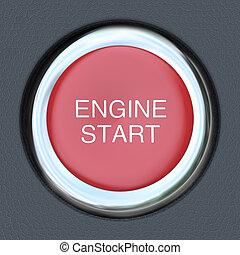 motor, coche, botón, -, comienzo, empujón, arrancador