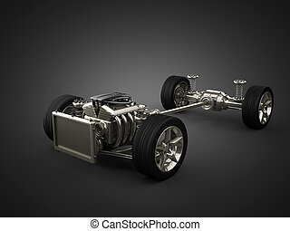 motor, coche, chasis