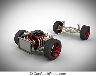 motor, coche, ruedas, chasis