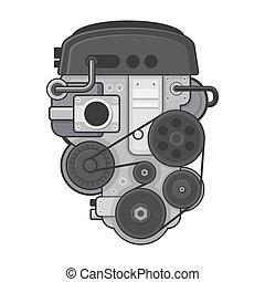 motor, concepto, coche, fondo., vector, blanco