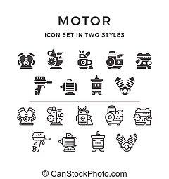 motor, conjunto, motor, iconos