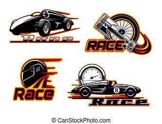 motor, correndo, ícones, raças, motor carro, automático, velocidade