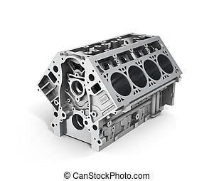 motor, cylinder, render, bil, isolerat, bakgrund., v8, vit, ...