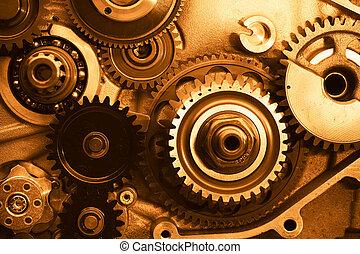 motor, det gears, hjul, closeup, udsigter