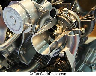 motor, druk, pomp, laag