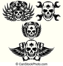 motor, flügeln, satz, bild, vektor, thema, totenschädel, motorrad, monochrom