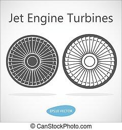motor, frente, turbina, jato, vista