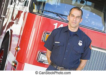 motor, fuego, bombero, retrato