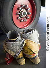 motor, fuego, vacío, uniforme, botas, luego, firefighter's