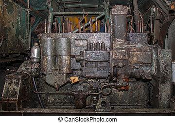 motor, gammal, diesel